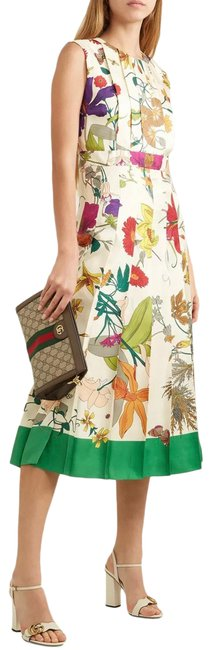 Item - Multicolor Flora Gothic Print Silk Pleated Midi Mid-length Cocktail Dress Size 4 (S)