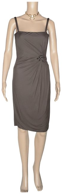 Item - Brown Jersey New with Jeweled Bow Pin 38 - Mid-length Cocktail Dress Size 4 (S)