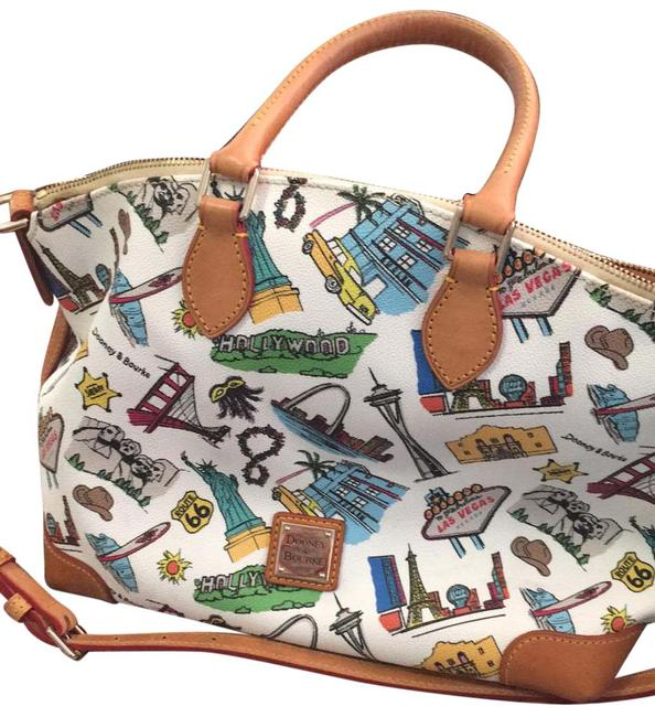 Item - And Multicolor Coated Canvas with Leather Trim Cross Body Bag