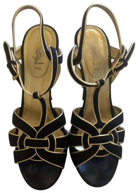 Item - Black and Gold Tribute Suede Leather Platforms Size US 10 Regular (M, B)