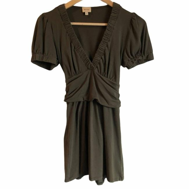 Item - Green V-neck Belted Olive Small Blouse Size 6 (S)