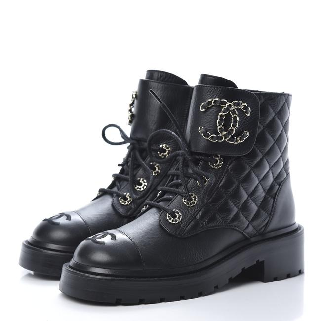 Item - Black Logo Quilted Combat Boots/Booties Size EU 36.5 (Approx. US 6.5) Regular (M, B)