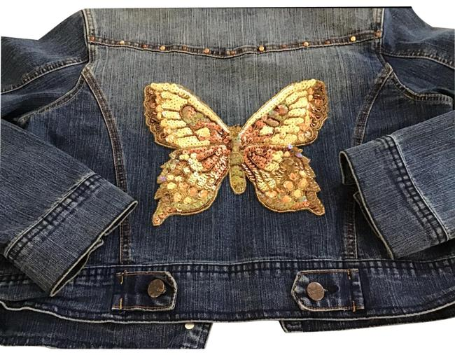 Item - Blue/Gold With Butterfly Sequins Junior Large Jacket Size 12 (L)