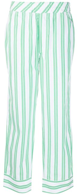 Item - White and Green Pinstriped Straight-leg Trousers Pants Size 2 (XS, 26)