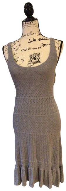 Item - Gray Knit Mid-length Night Out Dress Size 6 (S)