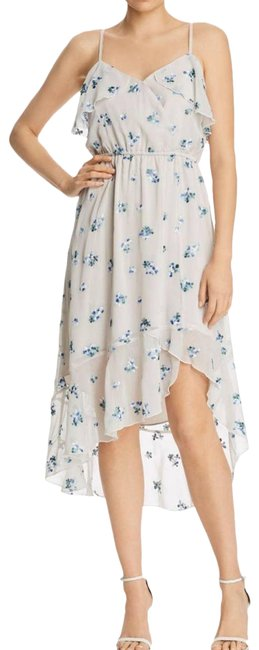 Item - Gray Floral Embroidered Midi Ruffle Cocktail Dress Size 14 (L)