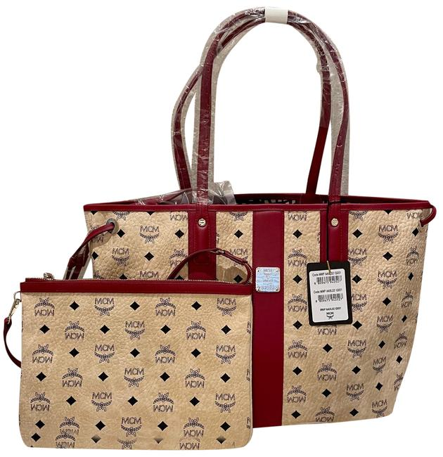 Item - New - Liz Shopper Medium Pouch Beige/Brown Coated Canvas with Leather Trim Tote