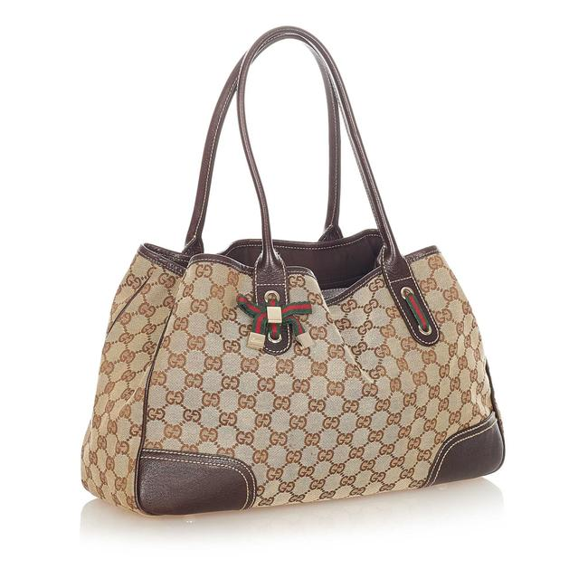 Item - Bag Gg Canvas Princy Brown Leather Tote