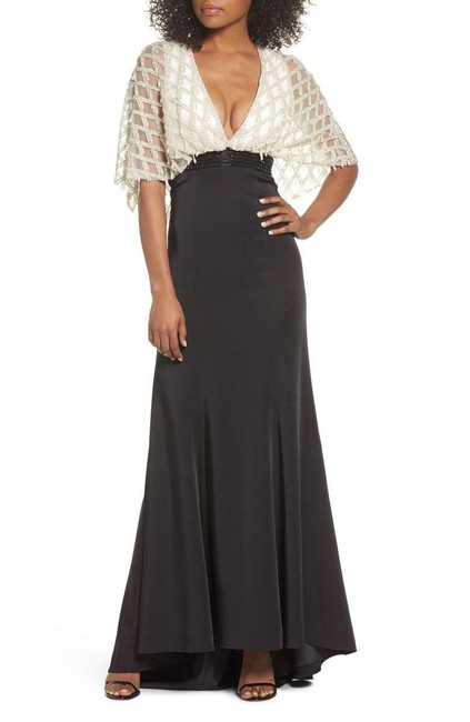 Item - Black White Pearl Beaded Cape Overlay Gown Long Formal Dress Size 0 (XS)