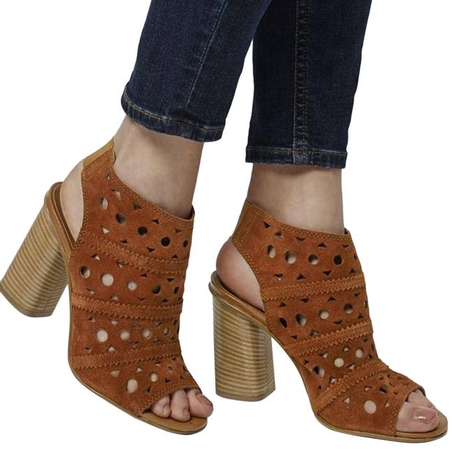 Item - Brown Laser Cut Stacked Chunky Strappy Heel Sandals Size US 8.5 Regular (M, B)