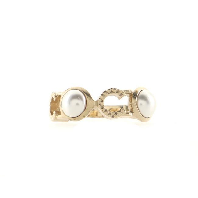 Item - Gold Coco Metal with Faux Pearl Ring