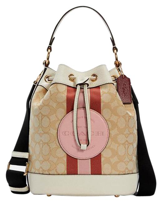 Item - Bucket Bag Dempsey Drawstring In Signature Jacquard with Stripe and Co Lt Khaki/Powder Pink Multi Leather Satchel