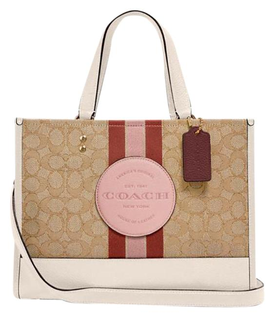 Item - Carryall Dempsey In Signature Jacquard with Stripe and Patch Lt Khaki/Powder Pink Multi Leather Cross Body Bag