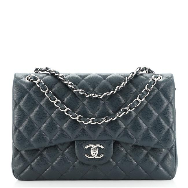 Item - Classic Flap Classic Double Quilted Caviar Jumbo Blue Leather Shoulder Bag