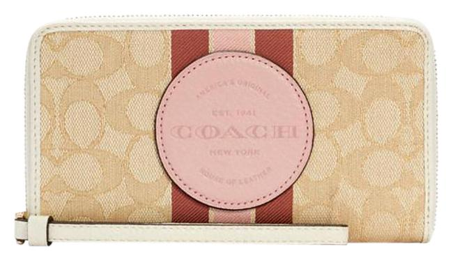 Item - Lt Khaki /Powder Pink Multi Dempsey Large Phone In Signature Jacquard with Stripe And Wallet