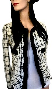 Hepburn Luxury by Italy Designer Spring Black & Ivory Plaid * 8 Panel Jacket