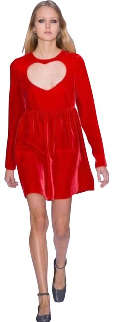 Item - Red Runway Heart Cut-out Velvet Mini Small Short Cocktail Dress Size 6 (S)