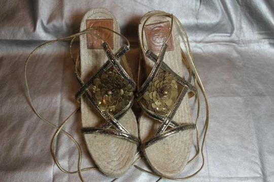 Tory Burch Sequins Ankle Strap Espadrille Jute Rope Sole Sandal Gold Wedges