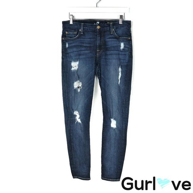 Item - Blue 7famk The Ankle Distressed Skinny Jeans Size 28 (4, S)