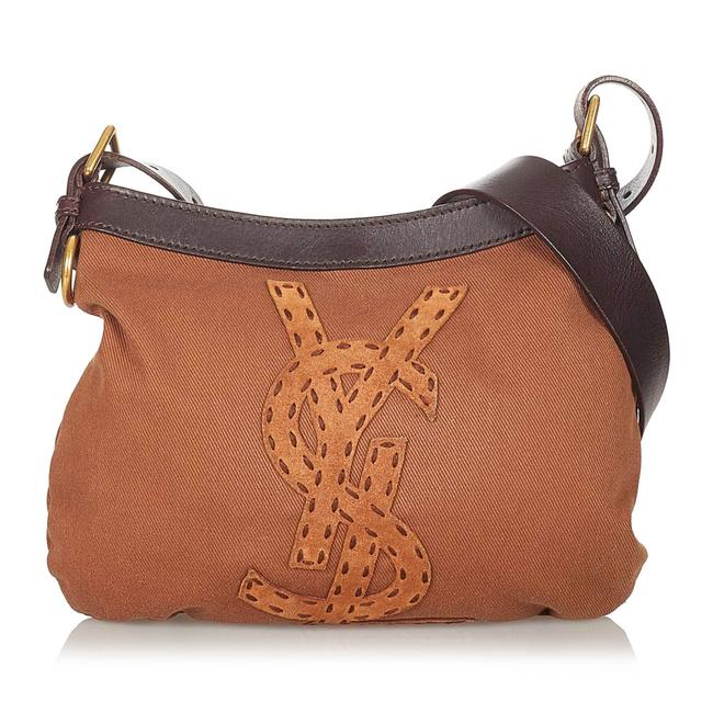 Item - Canvas Brown Leather Cross Body Bag