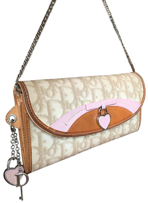 Item - Wallet On The Chain Pink Beige Coated Canvas Wristlet