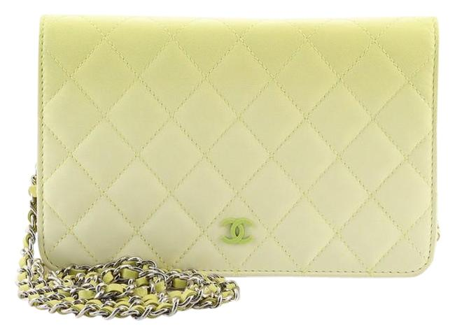 Item - Wallet on Chain Ombre Quilted Lambskin Yellow Leather Cross Body Bag