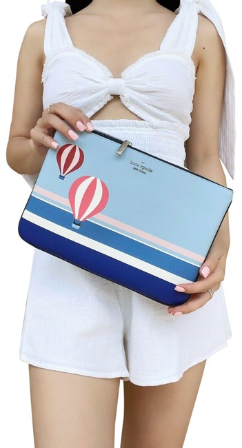 Item - Blue Up Up and Away Hot Air Balloon Large Zip Pouch Multi Leather Wallet