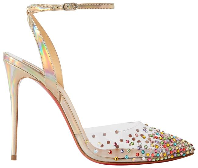 Item - Silver Spikaqueen 100 Crystal-embellished Pvc and Iridescent Leather Pumps Size EU 38.5 (Approx. US 8.5) Regular (M, B)