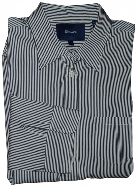Façonnable Button Down Shirt Chocolate and white pin stripe