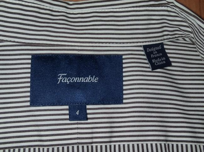 Faonnable Button Down Shirt Chocolate and white pin stripe