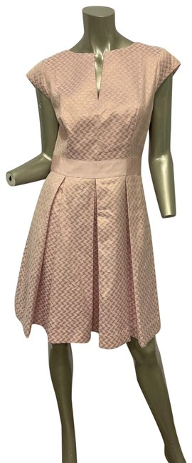 Item - Pink Fit & Flare Jacquard Mid-length Cocktail Dress Size 8 (M)