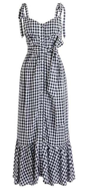 Item - Wna Ruffle Button Front Gingham Midi In White Navy Long Casual Maxi Dress Size 00 (XXS)