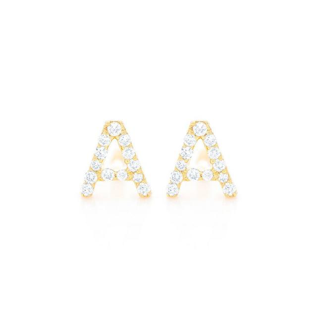 Item - 14k Yellow Gold 0.1ctw Any Letter In Earrings