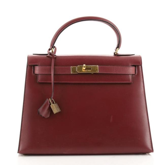 Item - Kelly Box Handbag Calf with Gold Hardware 28 Rouge H (Red) Leather Satchel