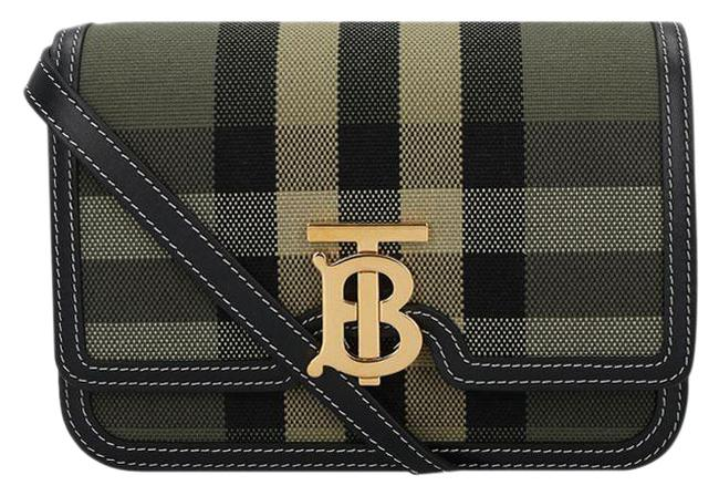Item - Small Check and Leather Tb Military Green Canvas Shoulder Bag