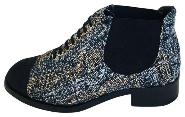 Item - Blue Tweed Lace Up Ankle Boots/Booties Boots/Booties Size EU 36.5 (Approx. US 6.5) Wide (C, D)