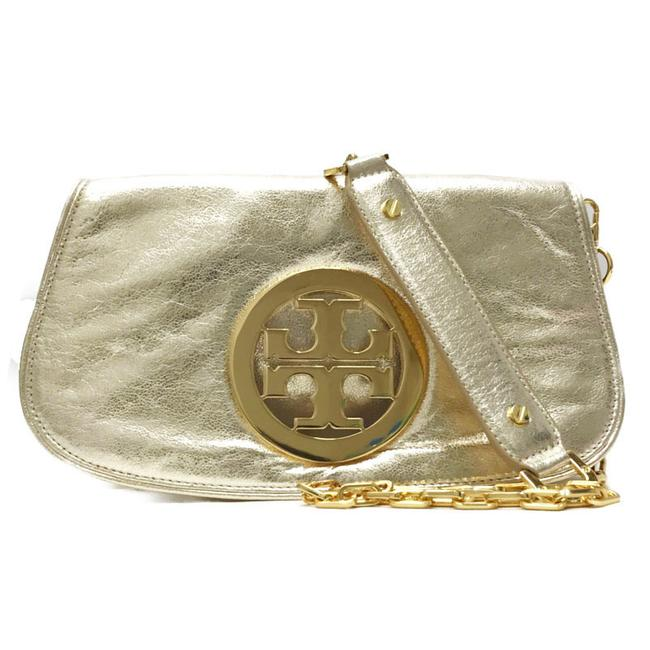 Item - Chain Shoulder 3way Gold Leather Clutch