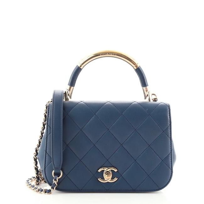 Item - Classic Flap Carry Chic Quilted Lambskin Mini Blue Leather Shoulder Bag