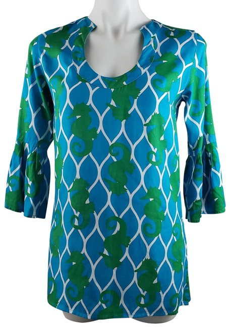Item - Blue XS & Green Seahorse Tunic/Top ~ Blouse Size 2 (XS)