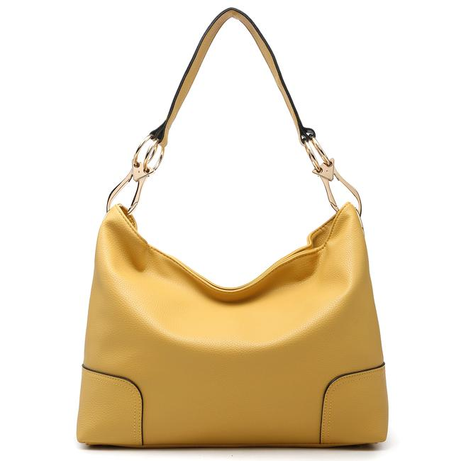 Item - Classic Corner Patched Yellow Faux Leather Hobo Bag