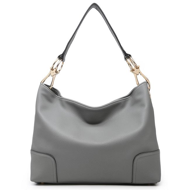 Item - Classic Corner Patched Gray Faux Leather Hobo Bag