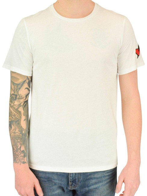 Item - White Red S Heart Patch T-shirt Tee Shirt Size 6 (S)