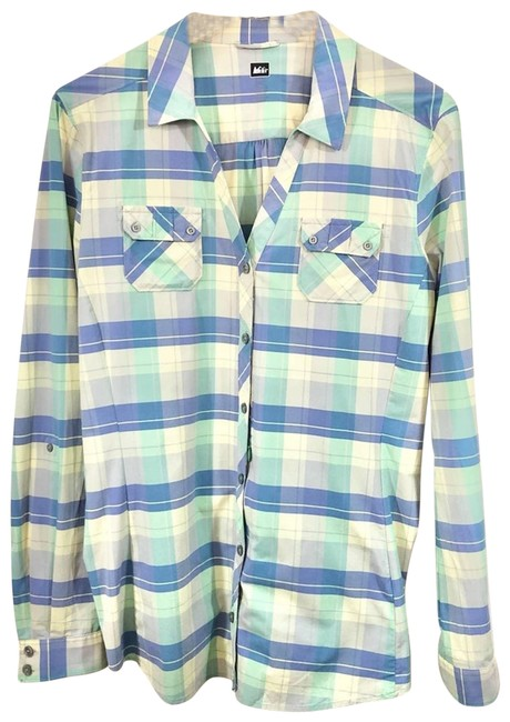 Item - Green Co-op Northway Long Sleeve Nylon Button Up Button-down Top Size 16 (XL, Plus 0x)