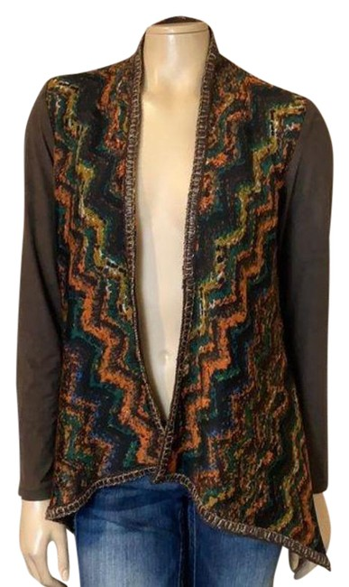 Item - Brown Multicolored Open Front Cardigan Size 4 (S)