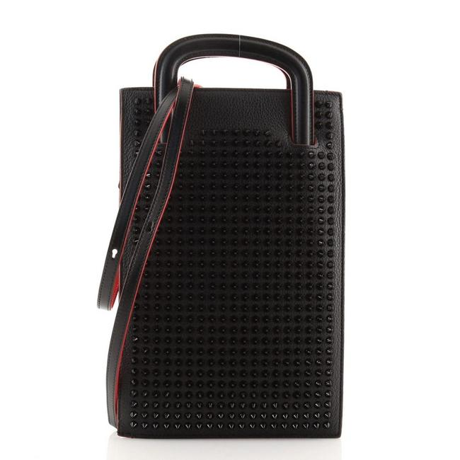Item - Portfolio Trictrac and Spiked Small Black Leather Cross Body Bag