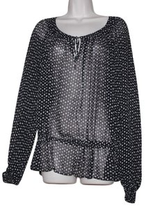 GERARD DAREL Top BLACK WHITE POLKA DOT