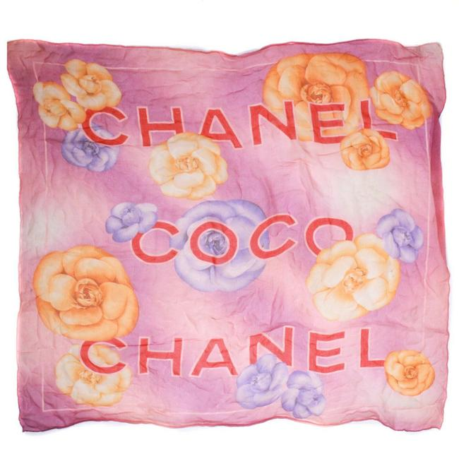 Item - Purple Pink Yellow Floral Coco Logo Neck Silk Small Scarf/Wrap