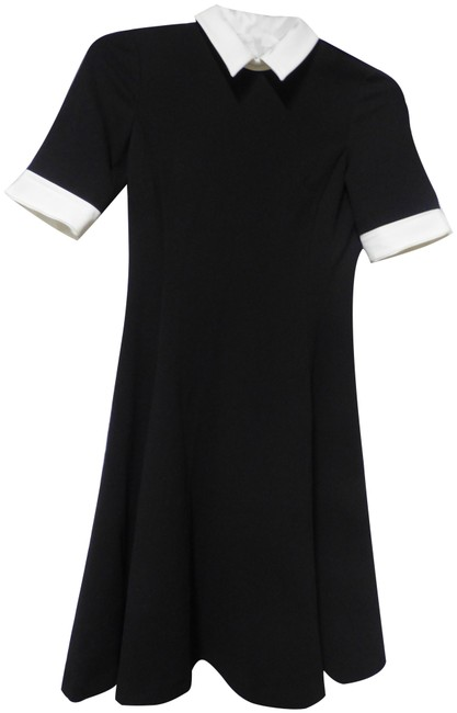 Item - Black Sleeve Contrast Collar/ Cuff Fit Short Cocktail Dress Size 4 (S)