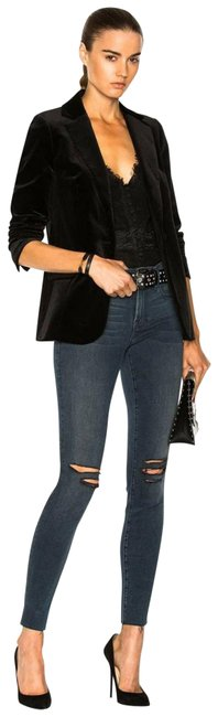 Item - Blue Le De Jeanne Stretch Ripped Busted Knee Cropped Skinny Jeans Size 24 (0, XS)