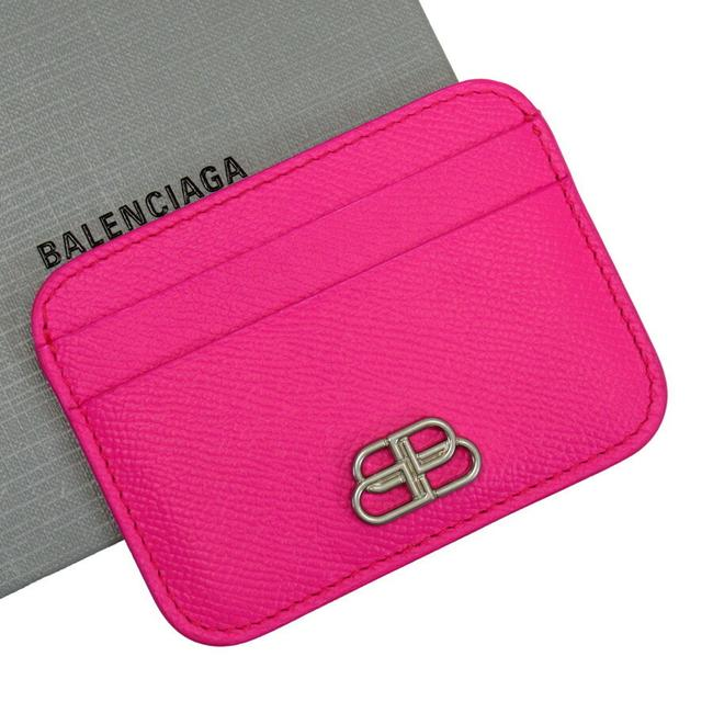 Item - Pink Card Case Pass Leather Wallet